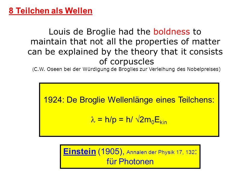 1924: De Broglie Wellenlänge eines Teilchens:  = h/p = h/ 2m0Ekin