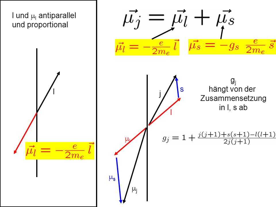 l und ml antiparallel und proportional l j l gj hängt von der Zusammensetzung in l, s ab s ml ms mj