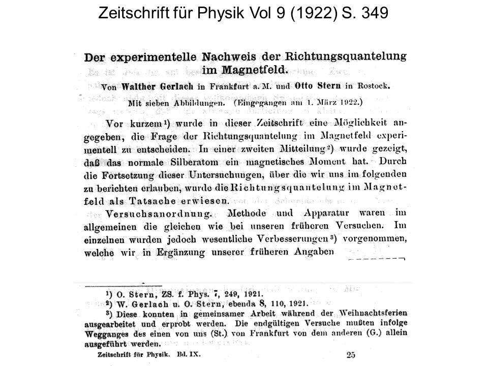 Zeitschrift für Physik Vol 9 (1922) S. 349