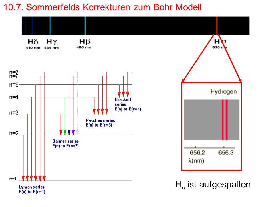 10.7. Sommerfelds Korrekturen zum Bohr Modell