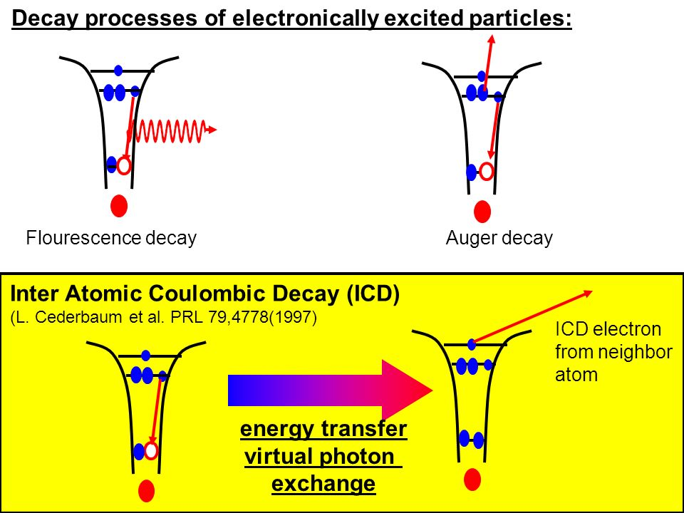 Decay processes of electronically excited particles: