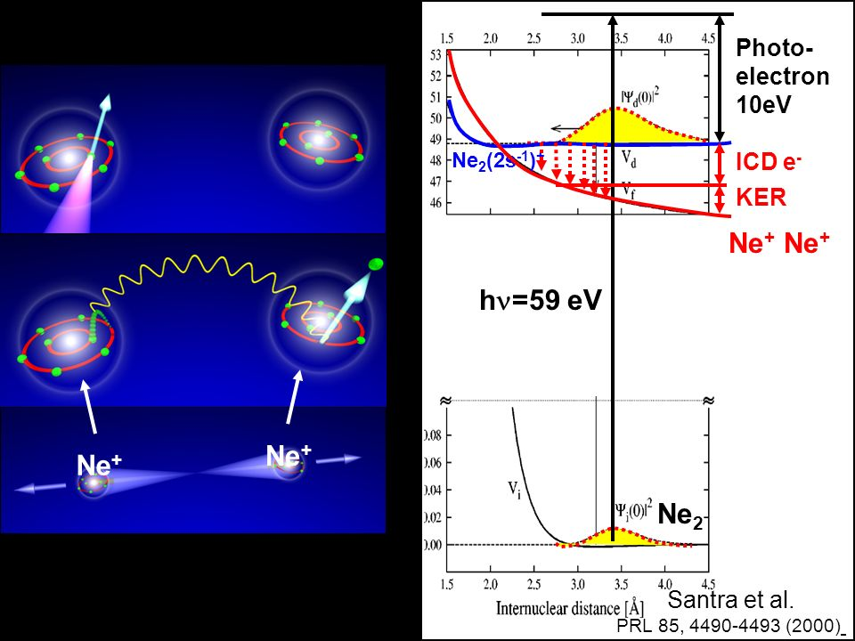 Ne+ Ne+ h=59 eV Ne+ Ne2 Photo- electron 10eV ICD e- KER Santra et al.