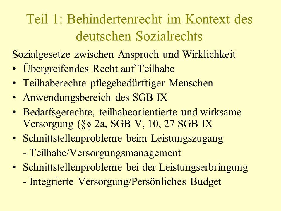 Teil 1: Behindertenrecht im Kontext des deutschen Sozialrechts