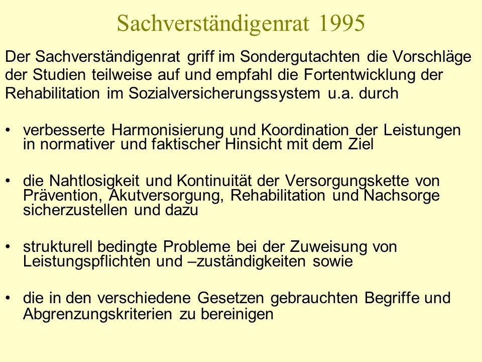 Sachverständigenrat 1995 Der Sachverständigenrat griff im Sondergutachten die Vorschläge.