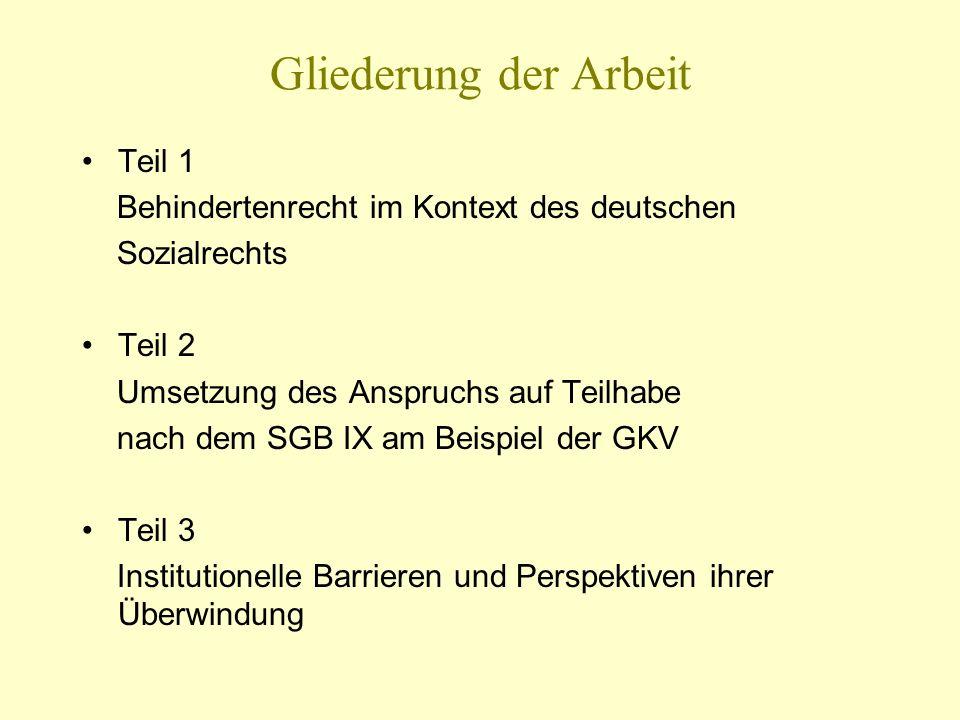 Gliederung der Arbeit Teil 1 Behindertenrecht im Kontext des deutschen