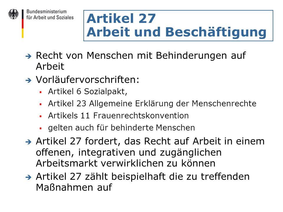 Artikel 27 Arbeit und Beschäftigung