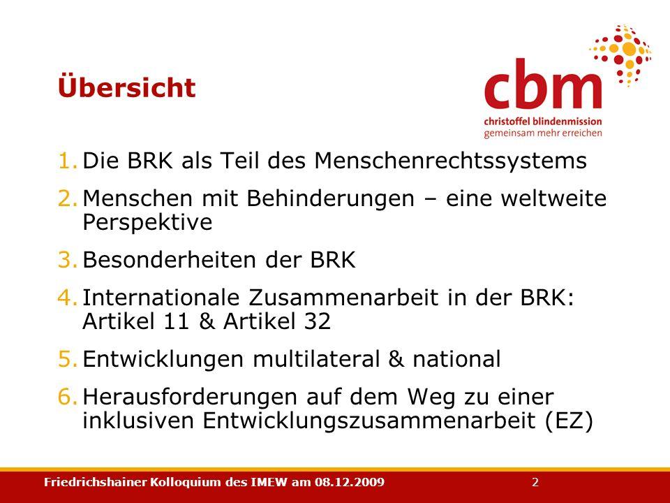 Übersicht Die BRK als Teil des Menschenrechtssystems