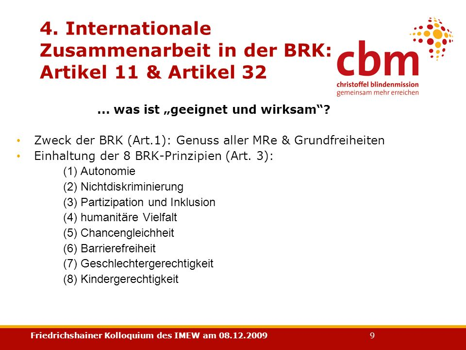 4. Internationale Zusammenarbeit in der BRK: Artikel 11 & Artikel 32