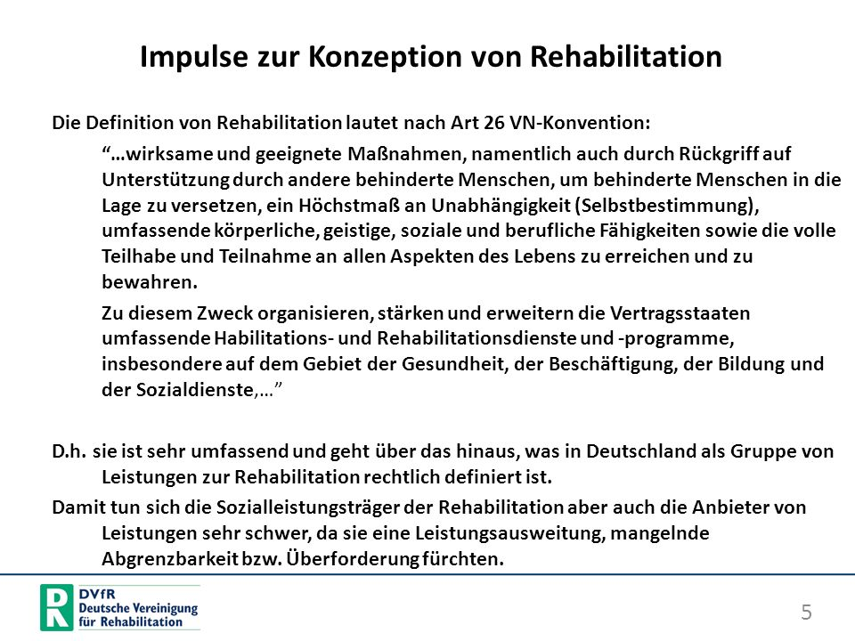 Impulse zur Konzeption von Rehabilitation