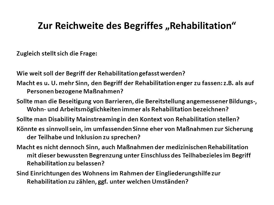"""Zur Reichweite des Begriffes """"Rehabilitation"""
