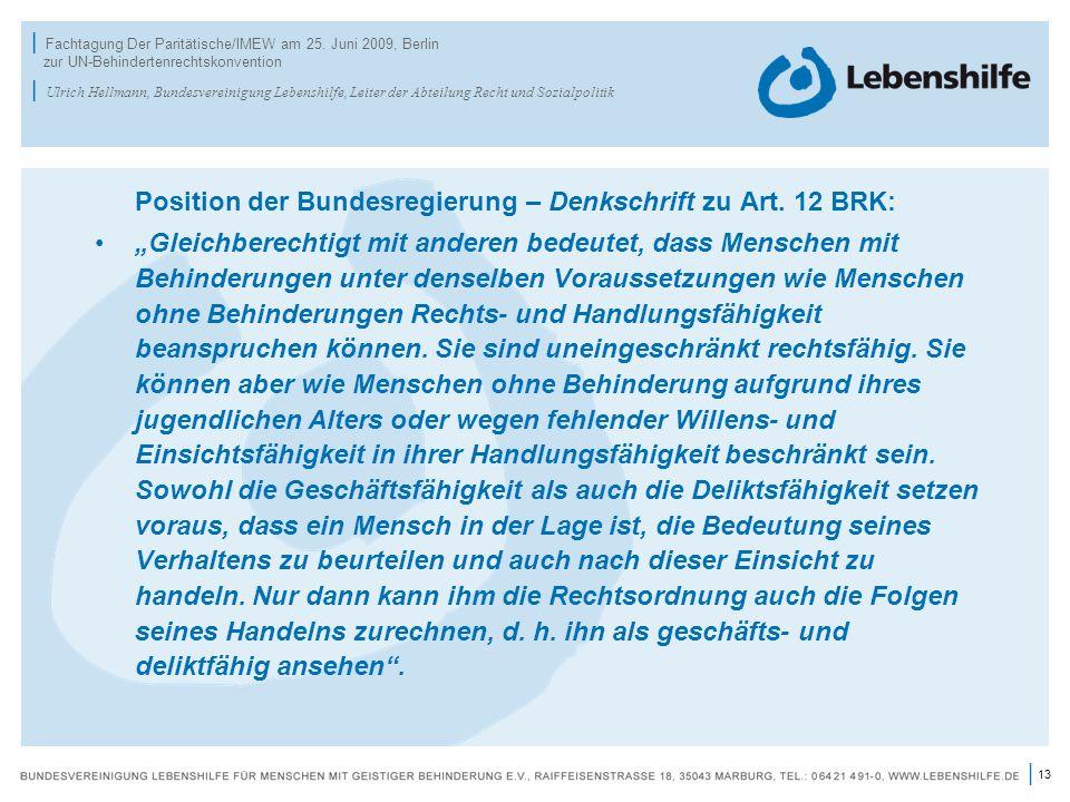 Position der Bundesregierung – Denkschrift zu Art. 12 BRK: