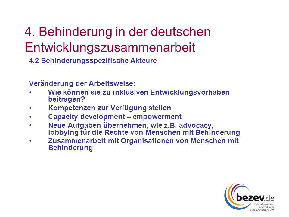 4. Behinderung in der deutschen Entwicklungszusammenarbeit