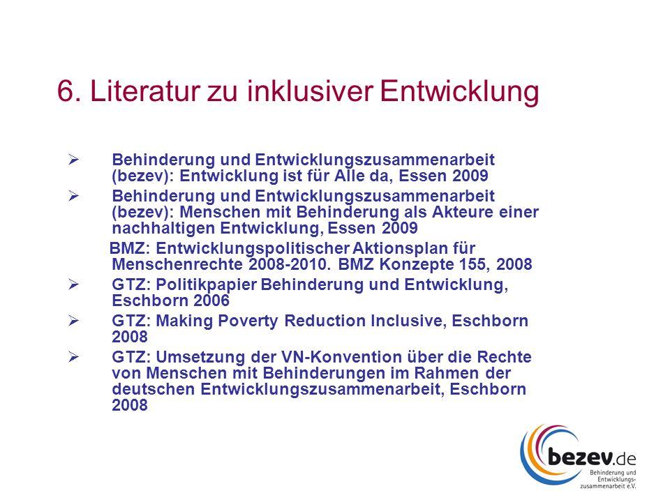 6. Literatur zu inklusiver Entwicklung