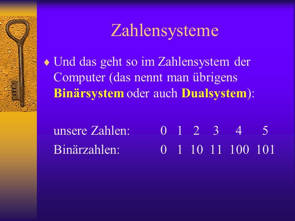 Zahlensysteme Und das geht so im Zahlensystem der Computer (das nennt man übrigens Binärsystem oder auch Dualsystem):