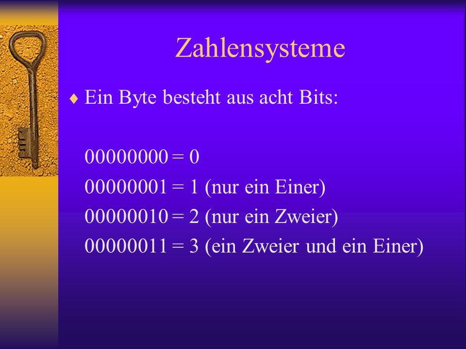 Zahlensysteme Ein Byte besteht aus acht Bits: 00000000 = 0