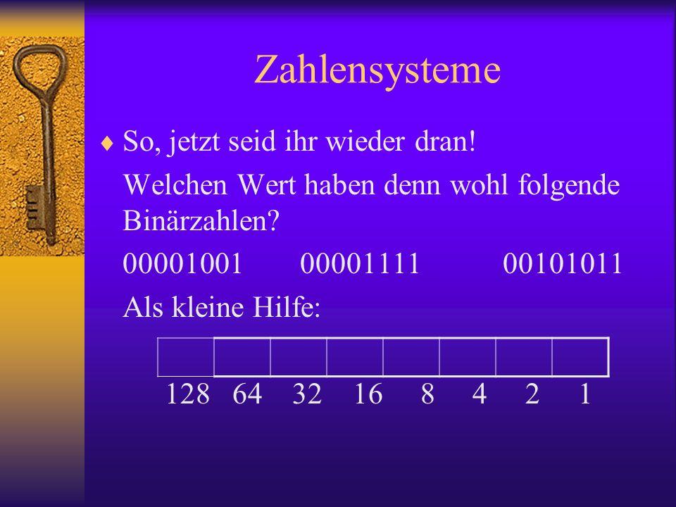 Zahlensysteme So, jetzt seid ihr wieder dran!