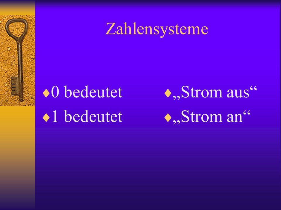 """Zahlensysteme 0 bedeutet 1 bedeutet """"Strom aus """"Strom an"""