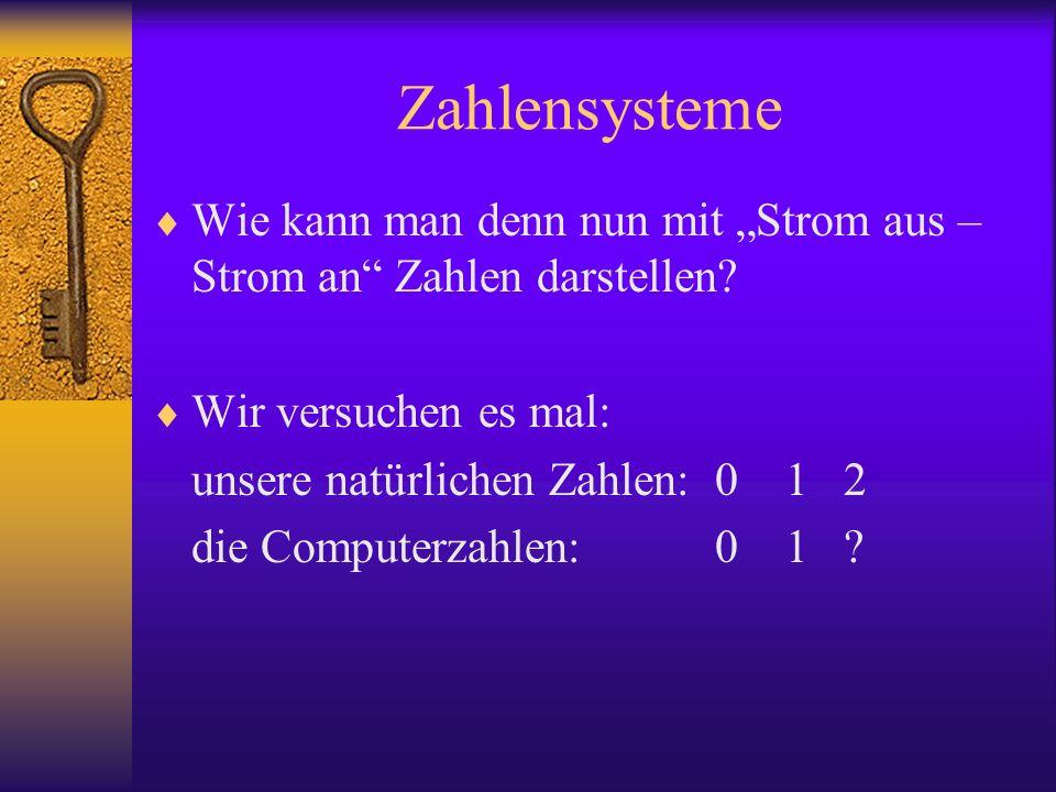 """Zahlensysteme Wie kann man denn nun mit """"Strom aus – Strom an Zahlen darstellen Wir versuchen es mal:"""