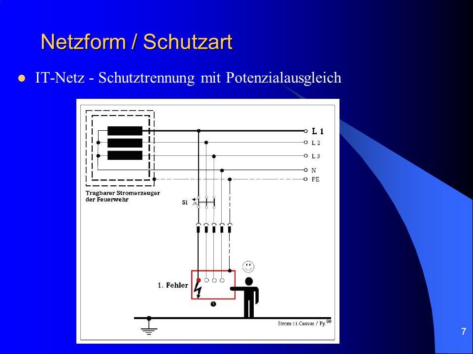 Netzform / Schutzart IT-Netz - Schutztrennung mit Potenzialausgleich