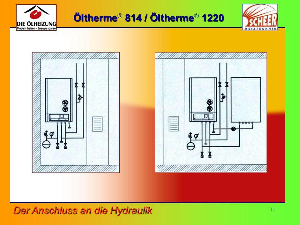 Öltherme® 814 / Öltherme® 1220 Der Anschluss an die Hydraulik