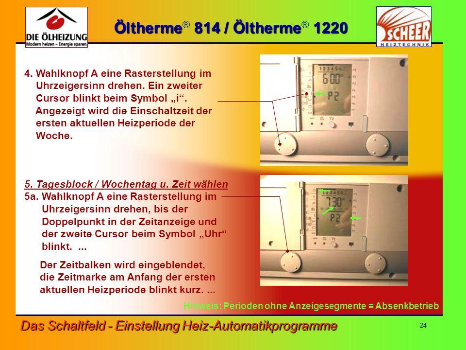 Öltherme® 814 / Öltherme® 1220 4. Wahlknopf A eine Rasterstellung im. Uhrzeigersinn drehen. Ein zweiter.