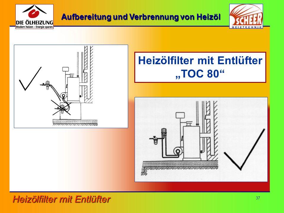 Aufbereitung und Verbrennung von Heizöl Heizölfilter mit Entlüfter
