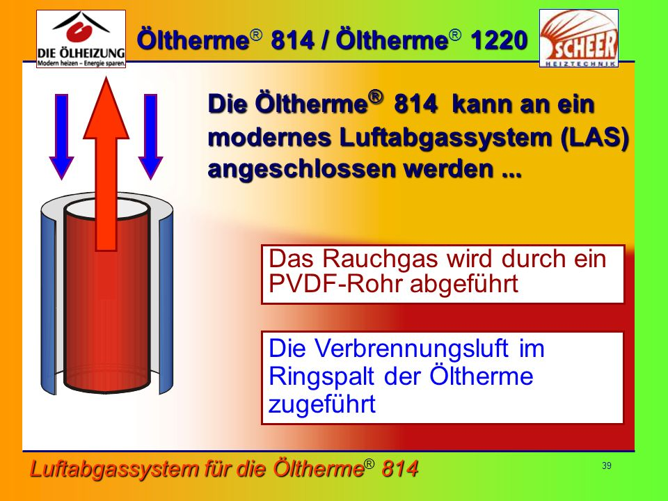 Die Öltherme® 814 kann an ein modernes Luftabgassystem (LAS)