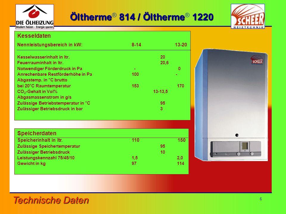 Öltherme® 814 / Öltherme® 1220 Technische Daten Kesseldaten