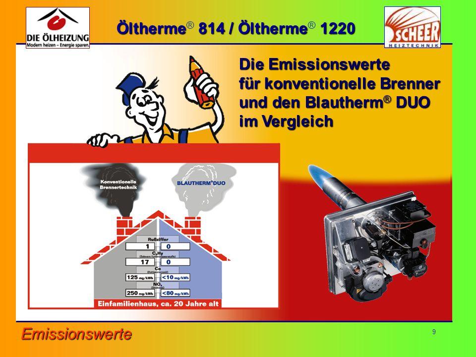 Öltherme® 814 / Öltherme® 1220 Die Emissionswerte. für konventionelle Brenner. und den Blautherm® DUO.