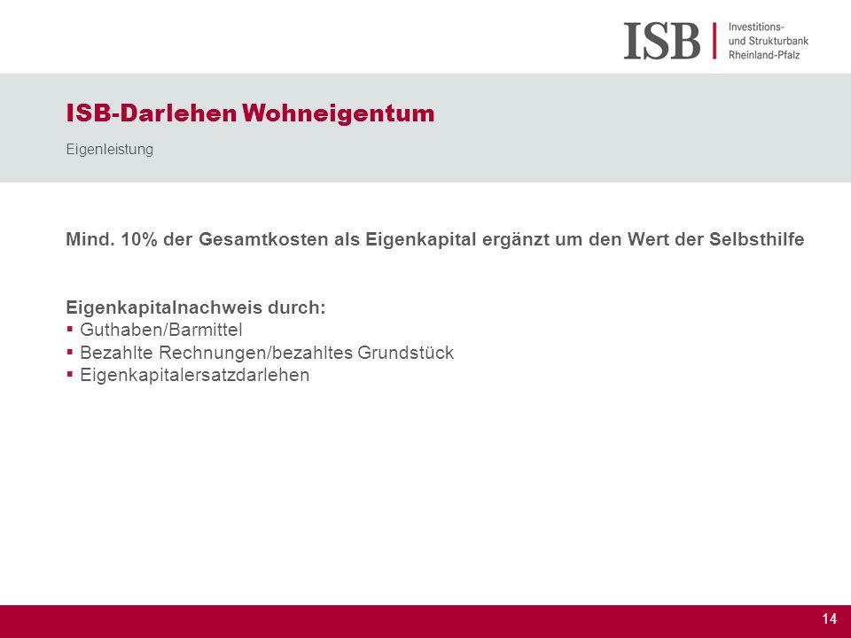 ISB-Darlehen Wohneigentum Eigenleistung