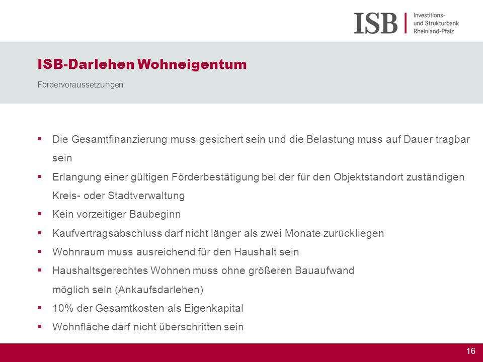 ISB-Darlehen Wohneigentum Fördervoraussetzungen