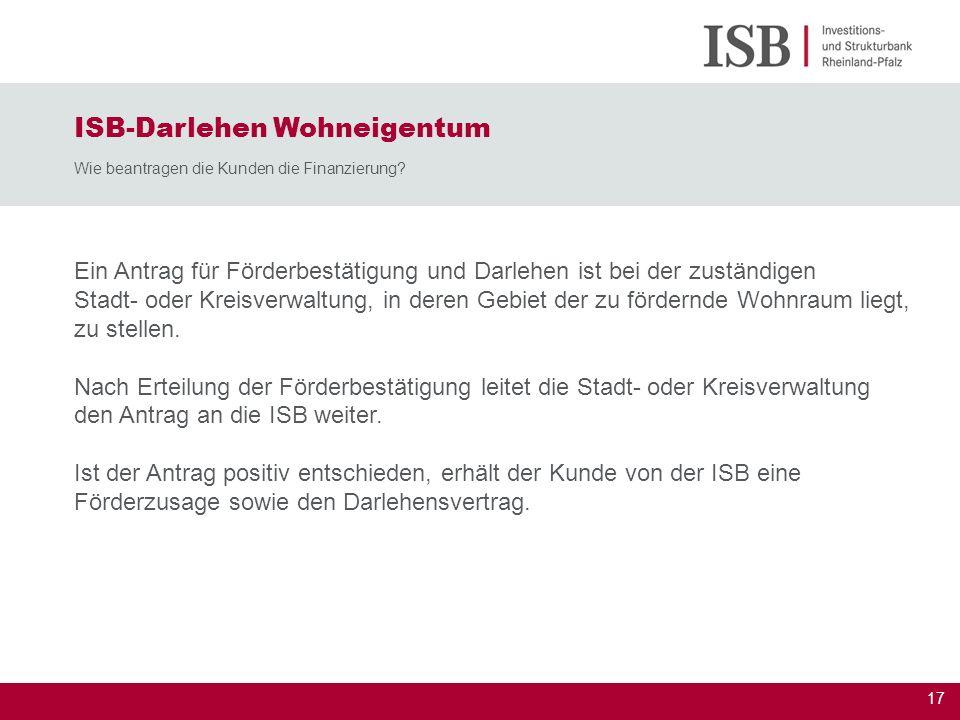 ISB-Darlehen Wohneigentum Wie beantragen die Kunden die Finanzierung