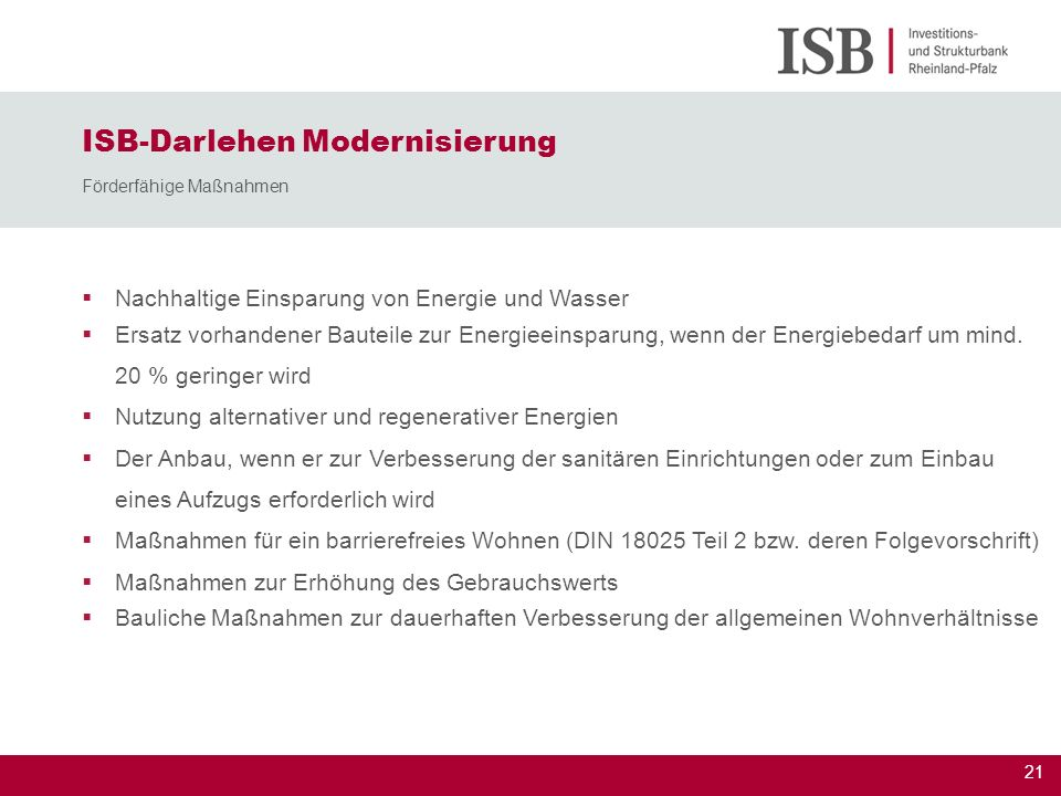 ISB-Darlehen Modernisierung Förderfähige Maßnahmen