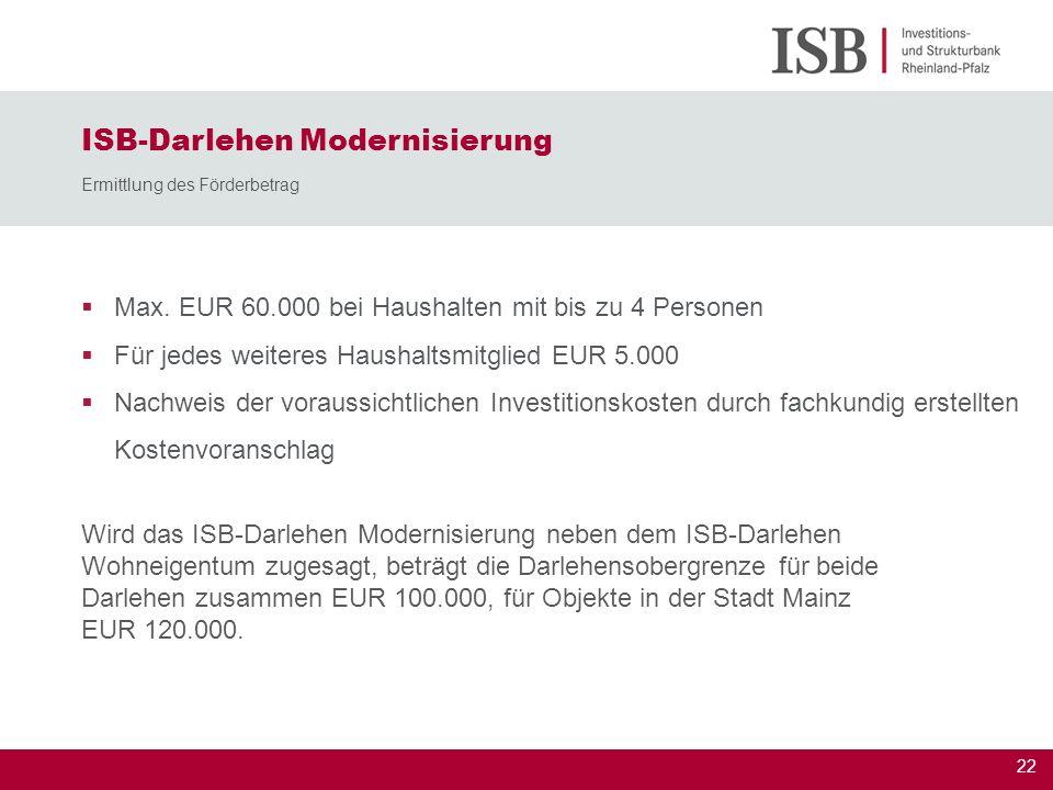 ISB-Darlehen Modernisierung Ermittlung des Förderbetrag