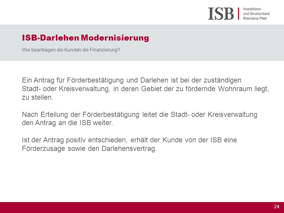 ISB-Darlehen Modernisierung Wie beantragen die Kunden die Finanzierung