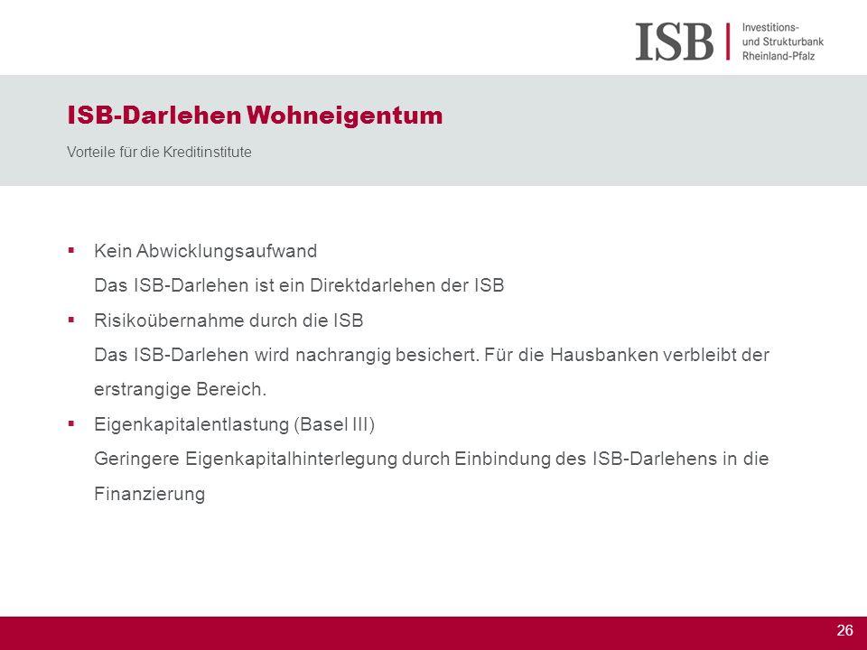ISB-Darlehen Wohneigentum Vorteile für die Kreditinstitute