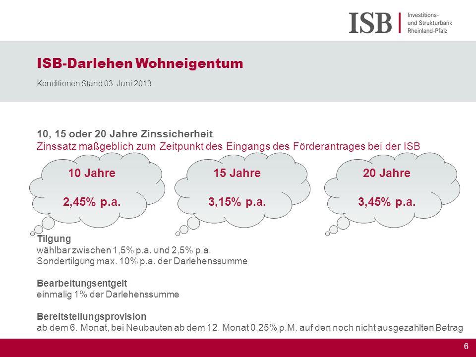 ISB-Darlehen Wohneigentum Konditionen Stand 03. Juni 2013