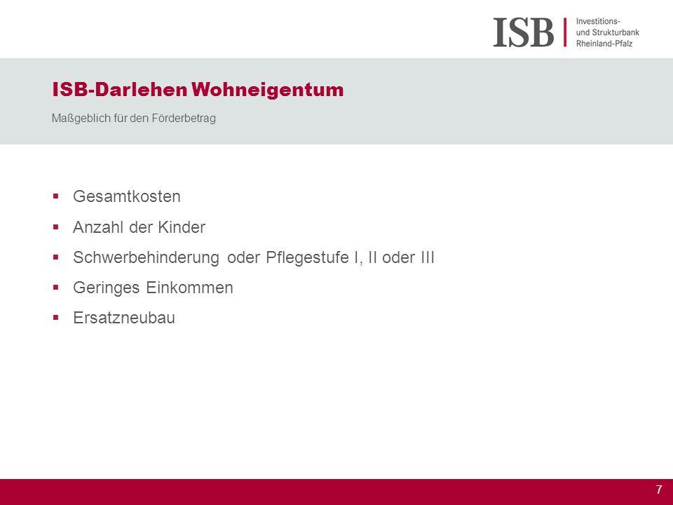 ISB-Darlehen Wohneigentum Maßgeblich für den Förderbetrag