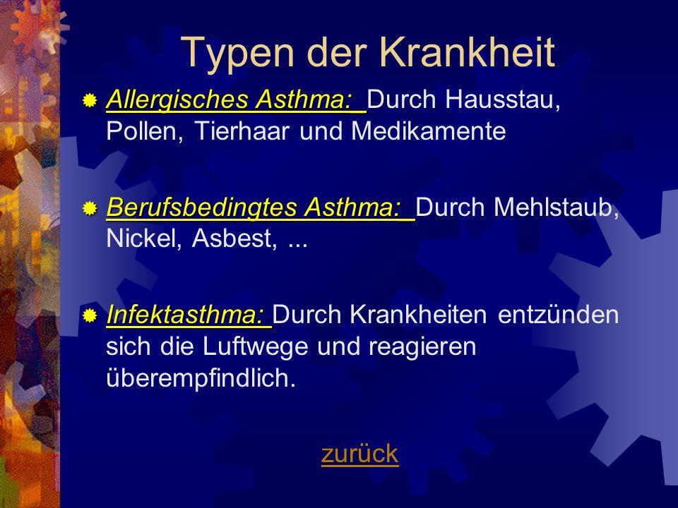 Typen der KrankheitAllergisches Asthma:_Durch Hausstau, Pollen, Tierhaar und Medikamente.