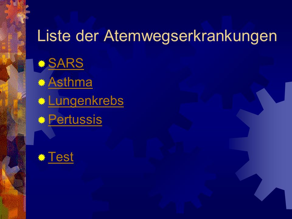 Liste der Atemwegserkrankungen