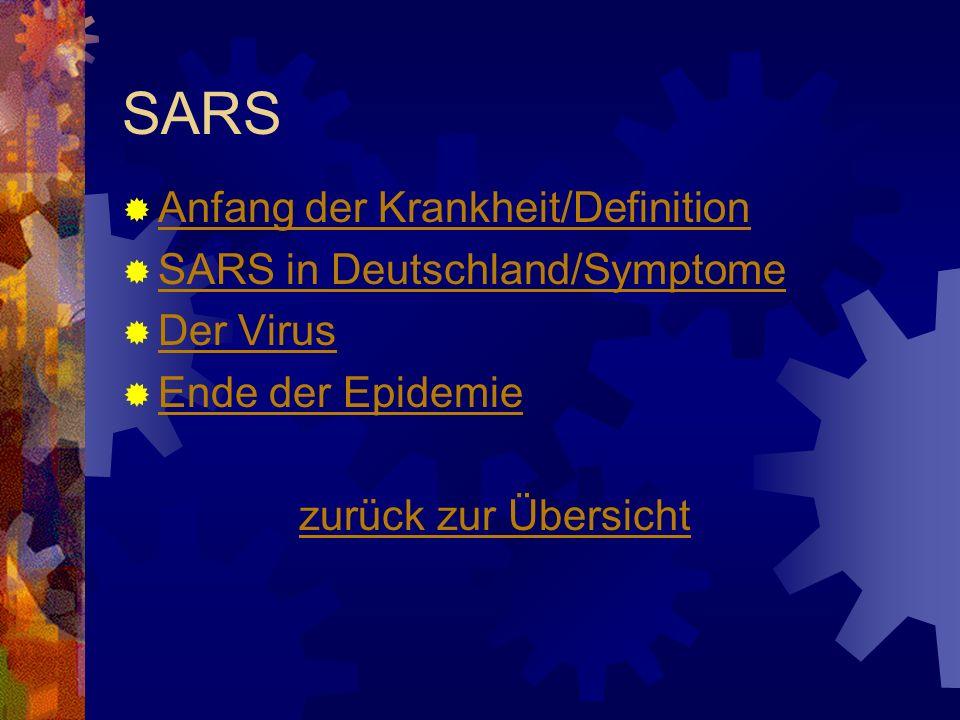 SARS Anfang der Krankheit/Definition SARS in Deutschland/Symptome