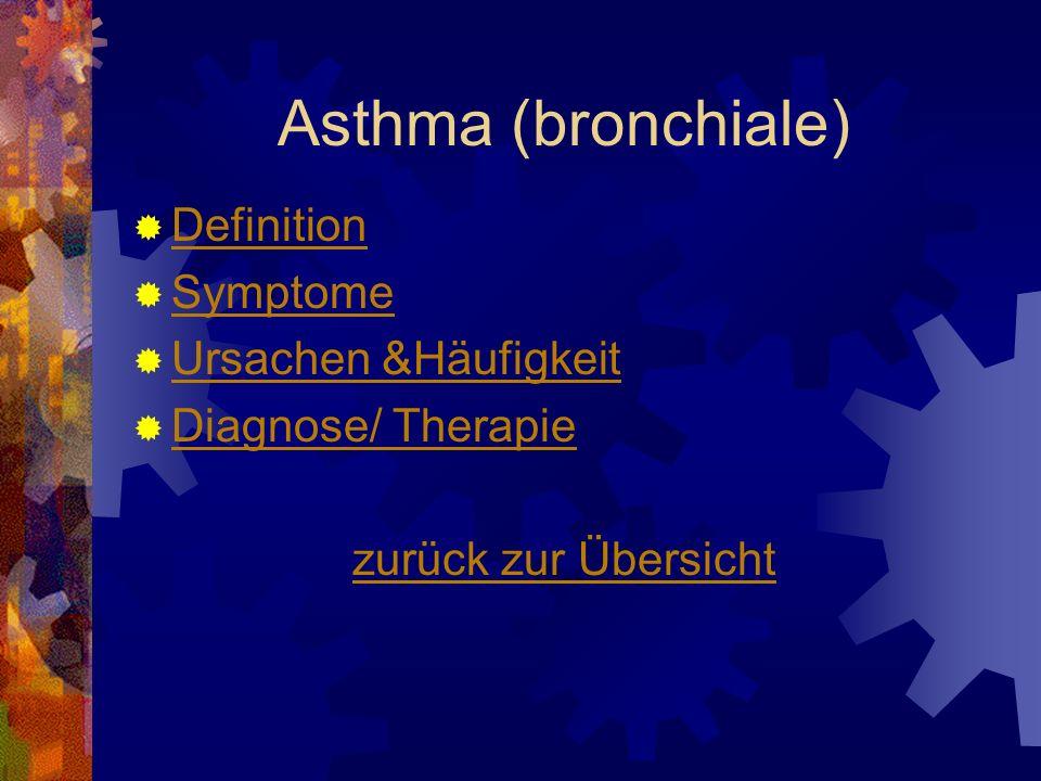 Asthma (bronchiale) Definition Symptome Ursachen &Häufigkeit