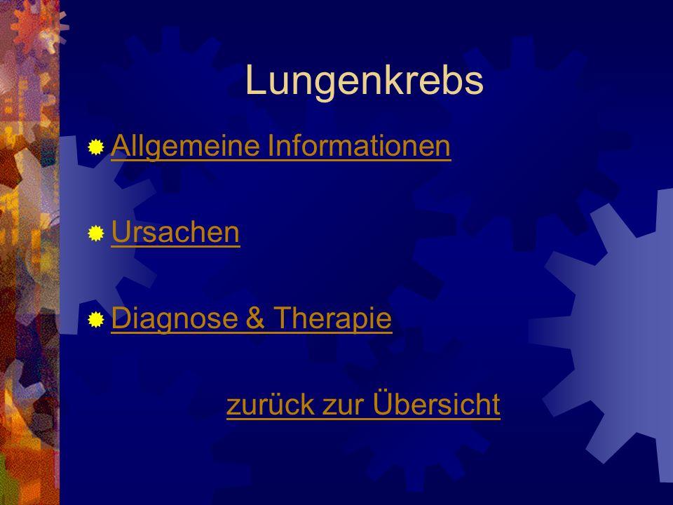 Lungenkrebs Allgemeine Informationen Ursachen Diagnose & Therapie