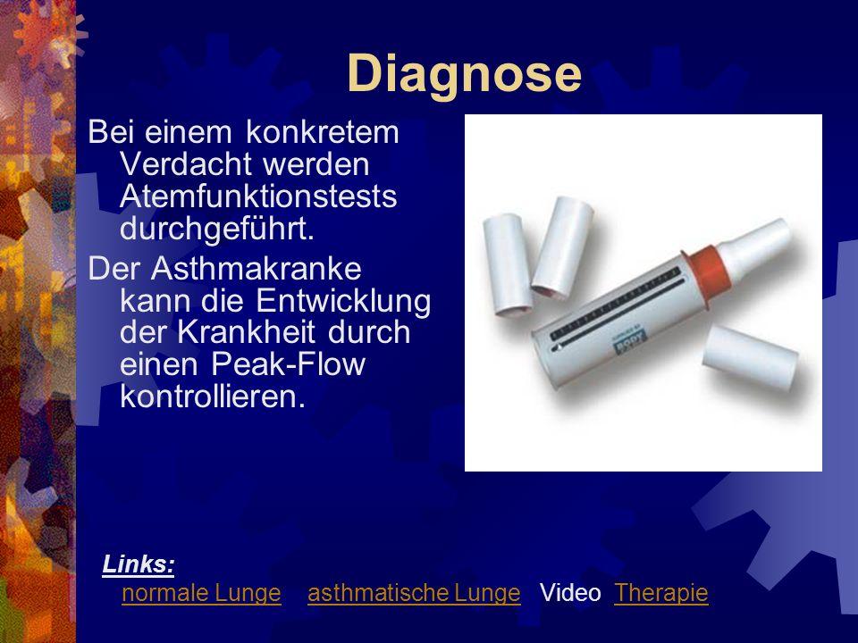 Diagnose Bei einem konkretem Verdacht werden Atemfunktionstests durchgeführt.