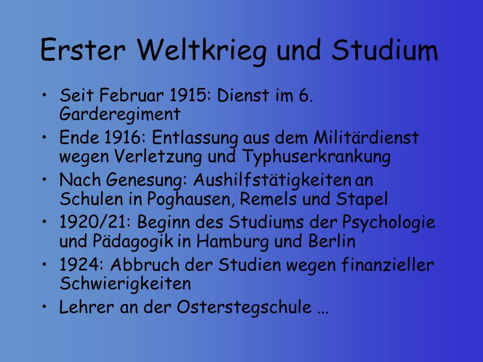 Erster Weltkrieg und Studium