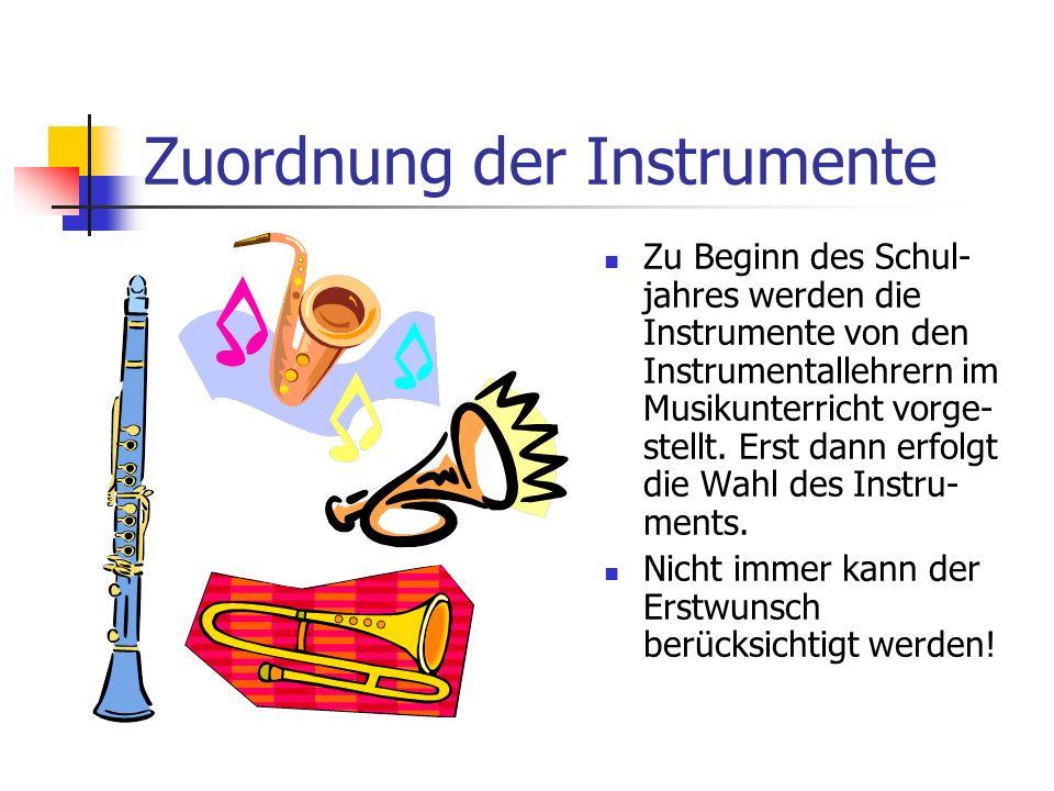 Zuordnung der Instrumente