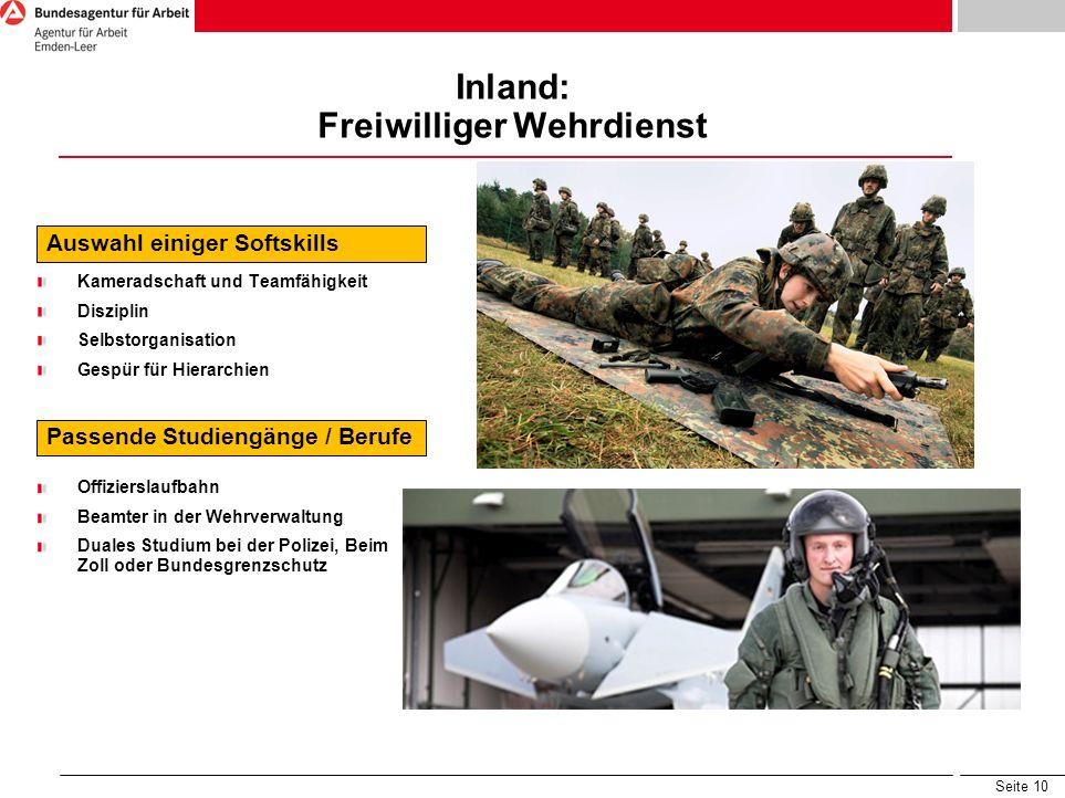 Inland: Freiwilliger Wehrdienst