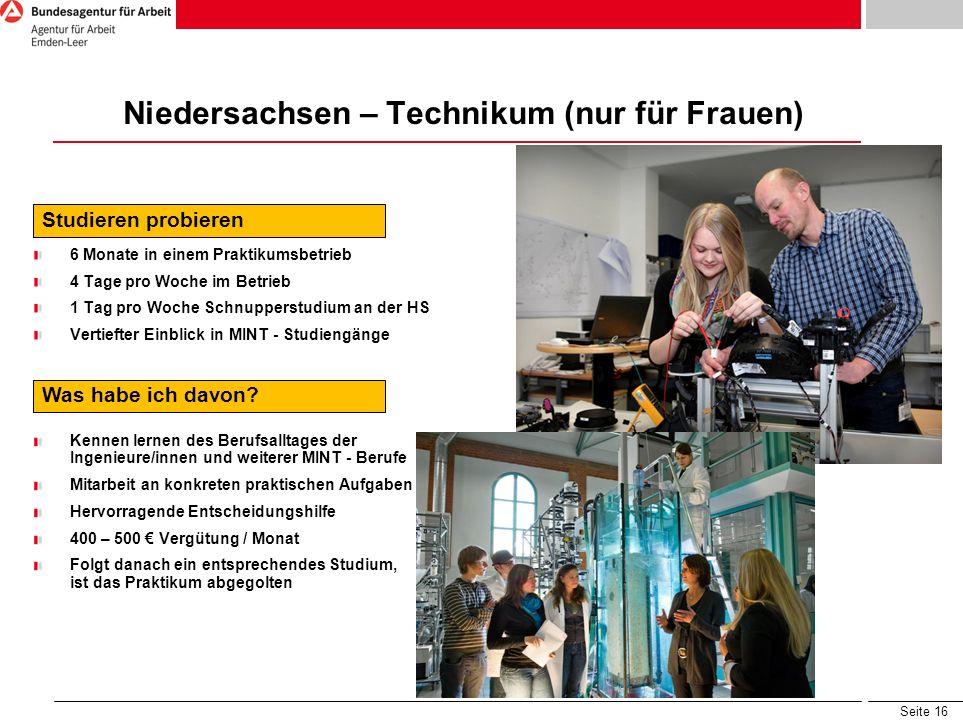 Niedersachsen – Technikum (nur für Frauen)