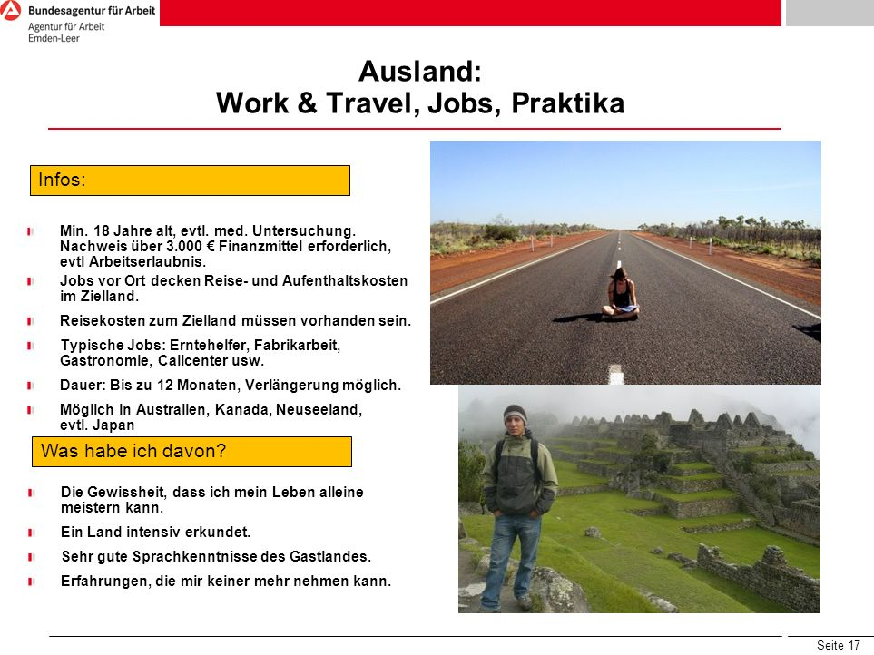 Ausland: Work & Travel, Jobs, Praktika