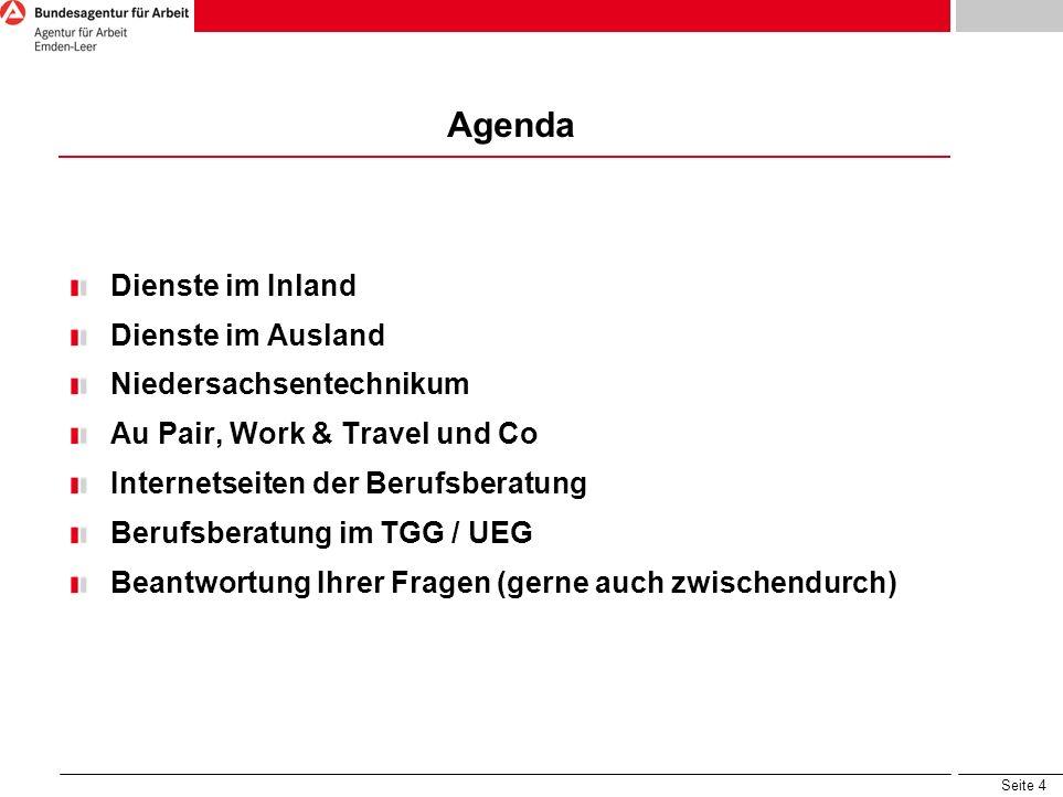 Agenda Dienste im Inland Dienste im Ausland Niedersachsentechnikum